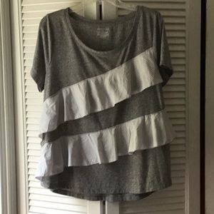 Gray, Short-Sleeve, Ruffle Front, T-Shirt